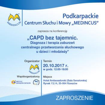 """Zaproszenie na konferencję: """"CAPD bez tajemnic. Diagnoza i terapia zaburzeń centralnego przetwarzania słuchowego u dzieci i młodzieży"""""""